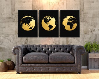 "Earth Maps Real Gold Foil Print set of 3 Large up to 16""x20"" Hemisphere America Europe Africa Asia Australia globe map Poster GoldenGraphy"