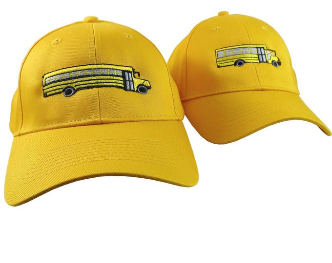 A Pair of Yellow School Bus Driver Embroidery Designs on 2 Yellow Adjustable Structured Baseball Caps for Adult and for Child Age 6 to 14
