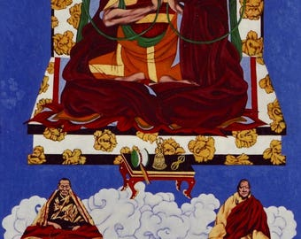 Jamgon Kongtrul the Great with Palpung Kongtrul, Shechen Kongtrul, and Kalu Rinpoche in Blue