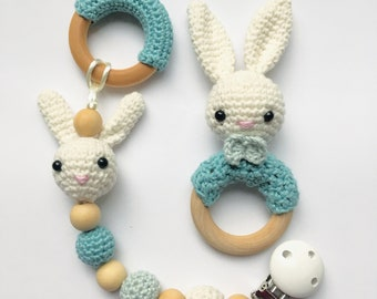 Billy bunny pacifier clip and crochet teether, blue and white