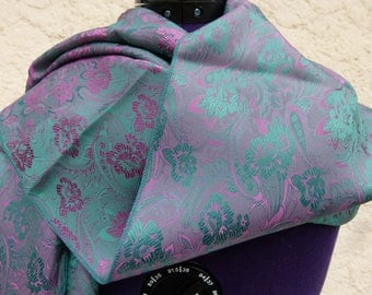 Pretty rolled hem flower pattern silk scarf