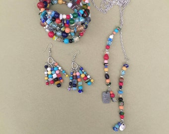 Lariat Necklace with Memory Wire bracelet and Earrings