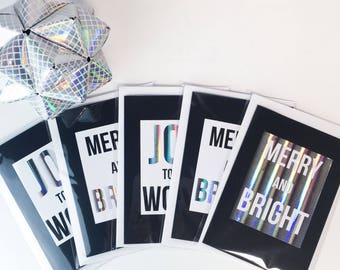 Pack of 5 Christmas Cards // Pack of 5 // Holographic // Foiled Christmas Cards // Typography Cards // Joy to the World // Merry and Bright