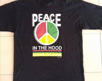 Vintage Cross Colours Black T shirt Peace In The Hood Hip Hop