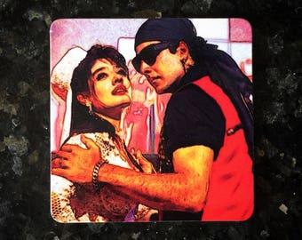 Bollywood Retro Art Mohra MDF/Cork Coaster - Akshay Kumar & Raveena Tandon