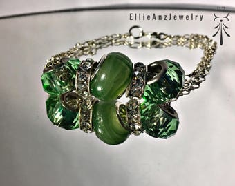Sterling Silver Jade Green Pandora Styled Bracelet