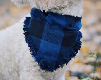 Blue frayed over the collar dog bandana / fall bandana / dog bandana /pet bandana / over the collar / puppy bandana / flannel dog bandana
