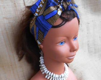 Baby headband tie African print turban ethnic African fabric for baby and also for girl baby, wax blue-beige