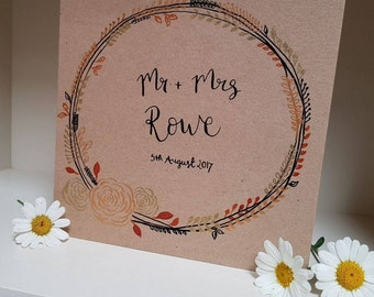 Copper and Gold Personalised Wedding card
