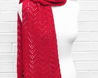 Red Scarf - Lace Crochet Knit Scarf - Luxurious Merino Wool, Silk and Cashmere Shawl - All Seasons Long Chevron Scarf - Ladies Accessories