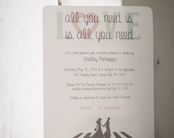 All You Need is Love Beatles Bridal Shower Invitations