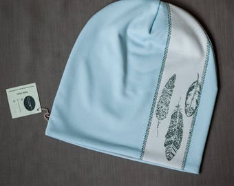 Light blue women's beanie hat Slouchy jersey beanie with cotton lining Autumn/spring hat for women/teen Scull hat for outdoor activity