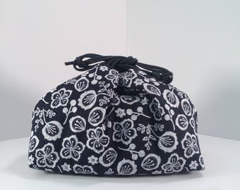 Indigo Flowers Insulated Makeup or Lunch Bag