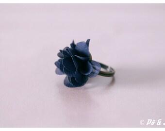 Navy chiffon flower ring & brass #0929