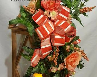 Lantern Swag, Lantern Swag for Spring, Lantern Swag for Everyday, Peach Roses Lantern Swag, Lantern Swag w/Roses