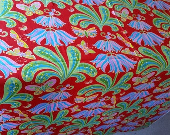 FABRIC, Jane Sassaman, flowers, Butterfly Garden, Rare, out-of-print quilting fabric, all cotton, BTHY, red butterflies,