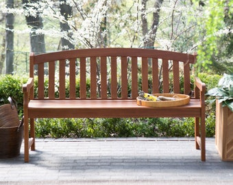 InsideOut 4-Foot Outdoor Patio Deck or Garden Bench with Curved Back and Arm-Rests in Natural Wood Finish Weather Resistant