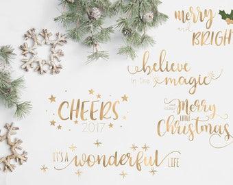 Christmas Overlays - Holiday Word Art - Overlays for Photographers - Christmas Word Art - Gold Overlays