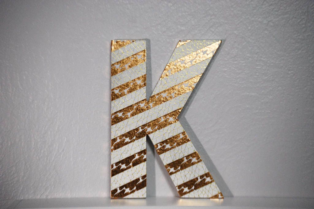 wood letter washi tape letter personalized letter