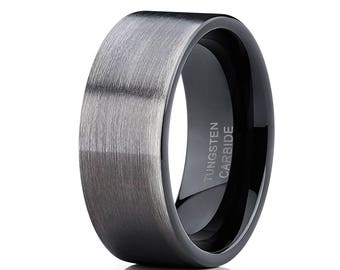 Black Tungsten Wedding Band Engagement Tungsten Ring Men & Women Gunmetal Tungsten Wedding Band Comfort Fit Ring