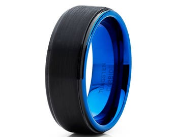 Blue Tungsten Wedding Band Tungsten Wedding Ring Black Tungsten Men & Women Tungsten Carbide Ring Anniversary Ring