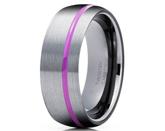 Gunmetal Purple Tungsten Ring Gray Tungsten Wedding Band Purple Tungsten Band Anniversary Ring Men & Women Tungsten Carbide