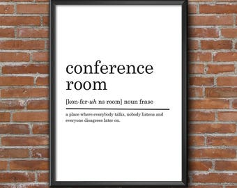 Conference Room Definition Print, Funny Definition Print, Office Decor, Dorm  Decor, Printable Part 46