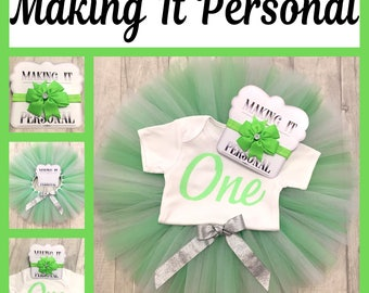 Girls 1st Birthday Cake Smash Outfit Green and White Tutu & Personalised Vest READY 2 POST !!