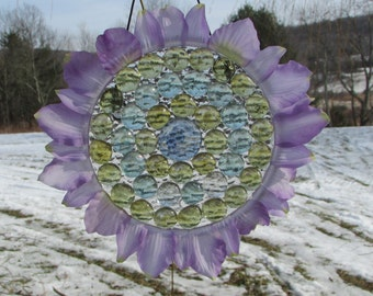 Lilac sun catcher. Prism effect. Outdoor decor. Garden decor. Window decor. Mother's Day gift. Birthday gift. Flower petals. Colored marbles