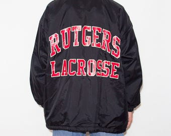 College Jacket, Rutgers Lacrosse, Windbreaker, 90s Jacket, 90s Clothing, 90s, Padded Jacket, Sports, Athletic, Printed, Sportswear, X-Large