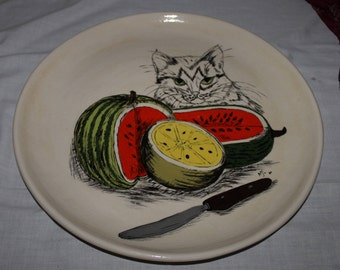 Decorative Plate, French Country, Hand Painted, Fruit and Cat Art, Ceramic, Quirky Plate, Kitchen Decor, Dining Decor, Animal Decorloo