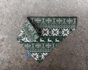 Christmas Dog Bandana   Nordic Green