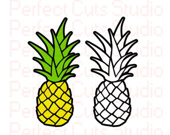 2 for 1 Pineapple SVG and Studio 3 Cut File & Stencil for Cricut Silhouette Brother Designs Downloads Files Cut Out Cutouts Stencils SVGs