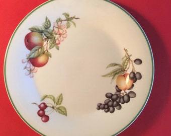 Vintage decorative wall hanging plate with multi-color fruit designs and green edging