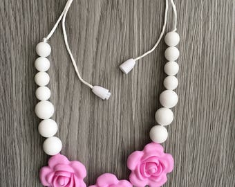 Pink Rose/White Pearls Silicone Toddler Necklace