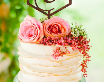 Wedding Cake Topper Letter V Personalized Cake Topper V Geometric Cake Topper C Z Custom cake topper gold Wood Cake Topper Geometric decor