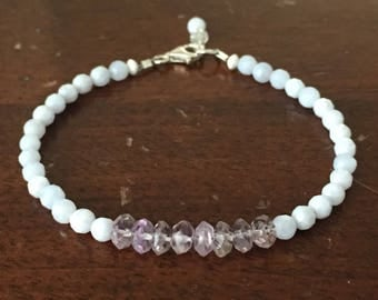 Faceted Blue Lace Agate & Amethyst Layering Bracelet