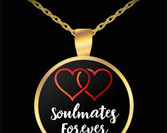 Two Hearts, Soulmates Forever, Gold-Plated, Round, Pendant, Necklace