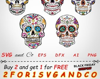 SALE! sugar skull clipart set - sugar skull SVG file -  instant download - Files for Cricut and Silhouette - svg, eps, dxf, png - SAC18