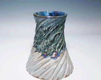 Blue Ceramic Vase / Ceramic Flower Vase / Carved Vase / Textured Vase / Crackle Vase / Wheel Thrown Vase
