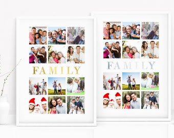 REAL FOIL Family - Personalised Photos - Children - Parents - Rose Gold, Gold, Silver, Copper - 8x10 or A4 - Wall Art - Home Decor