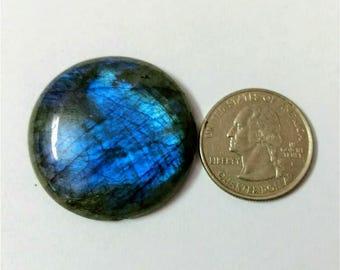 35.10 mm,Round Shape Labradorite Cabochon/Blue flaseh /Attractiv Labradorite/wire wrap stone/pendent size Labradorite/ Labradorite Cabochon