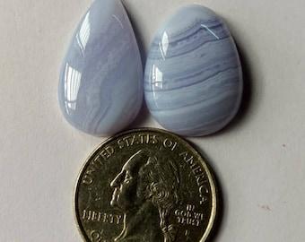 2 Pcs. Lot,Mix Shape Blue Lace Agate Cabochon ,Attractive Blue Lace Agate/wire wrap stone/Super Shiny/Pendant Cabochon/SemiPrecious Gemstone