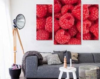 Raspberries on Canvas, Raspberries  Art style,Beautiful Raspberries on Canvas Wall Art, Fruit on Canvas