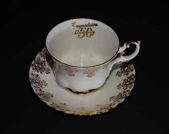 ROYAL ALBERT, Bone China, Teacup, and saucer, 50th Anniversary, gold floral chintz tea set, footed cup with matching saucer, Mint condition