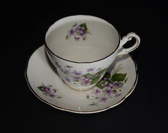 REGENCY, Teacup, and saucer, Purple flowers, Gold Rimmed, England, Vintage, Bone China, 1950s