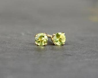 Peridot Stud Earrings, 3mm Peridot & 14k Gold Fill Earrings, Tiny Gemstone Studs, Dainty Earrings, Delicate Studs, Gold Earrings, Wife Gift