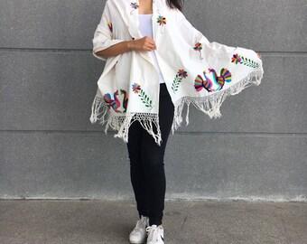 Handmade mexican shawl with a 'tenango' design