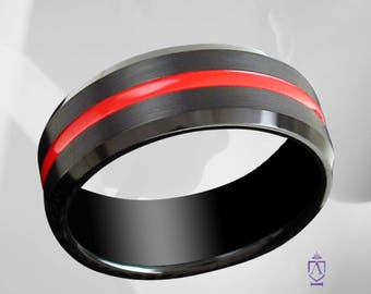 Thin Red Line Tungsten Wedding Ring | Firefighter Wedding Band | 8mm Black Brushed Comfort Fit Tungsten Ring With Thin Red Line