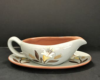 Stangl Hand Painted and Hand Carved Gravy Boat in the Golden Harvest Pattern